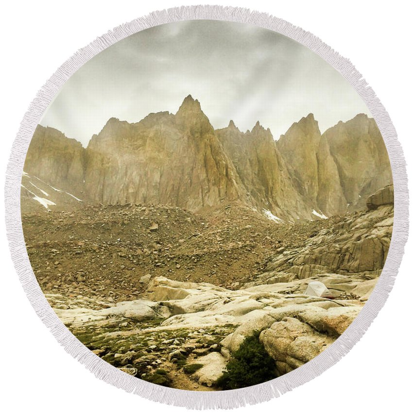 Landscape Round Beach Towel featuring the photograph Mt Whitney Sierra Basecamp by Tyler Krol