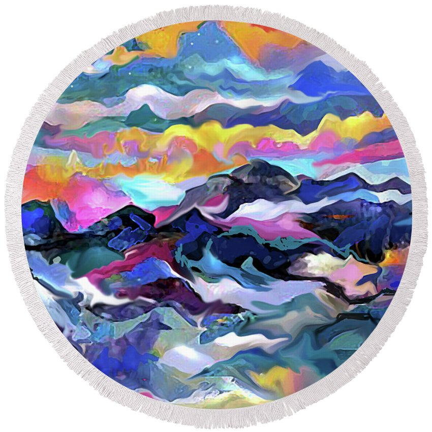 Sea Round Beach Towel featuring the digital art Mts. In The Sea by Jean Batzell Fitzgerald