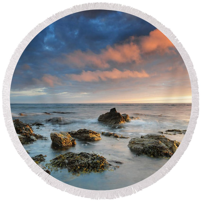 Muasdale Round Beach Towel featuring the photograph Muasdale, Kintyre by Smart Aviation