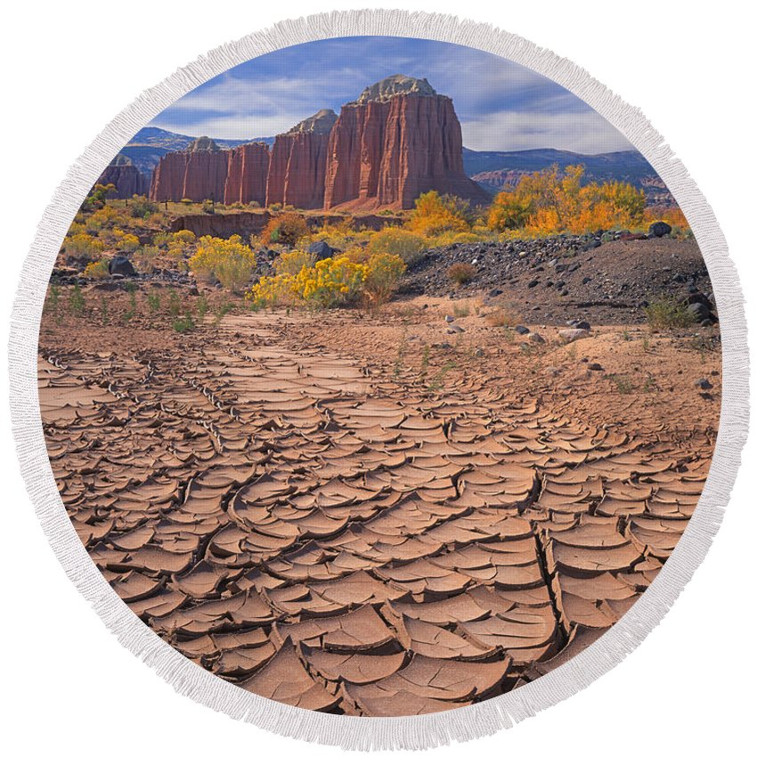 Mud Cracks Round Beach Towel featuring the photograph 212648-mud Cracks Upper Cathedral Valley by Ed Cooper Photography
