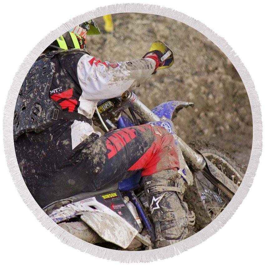Dirt Bike Round Beach Towel featuring the photograph Mud Mayhem by Ellen Flayderman