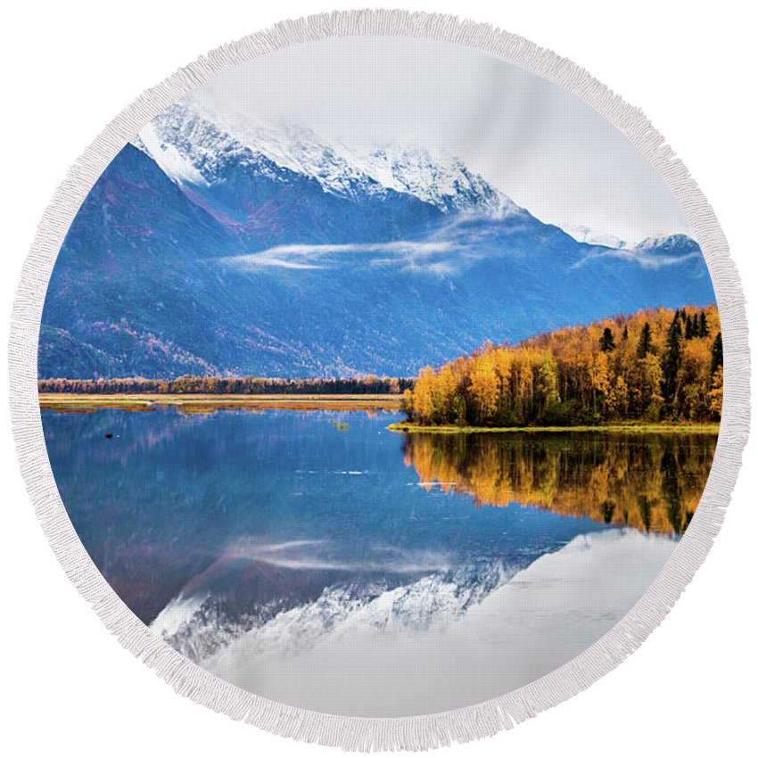Alaska Round Beach Towel featuring the photograph Mudd Lake Reflections by Tami Biorn