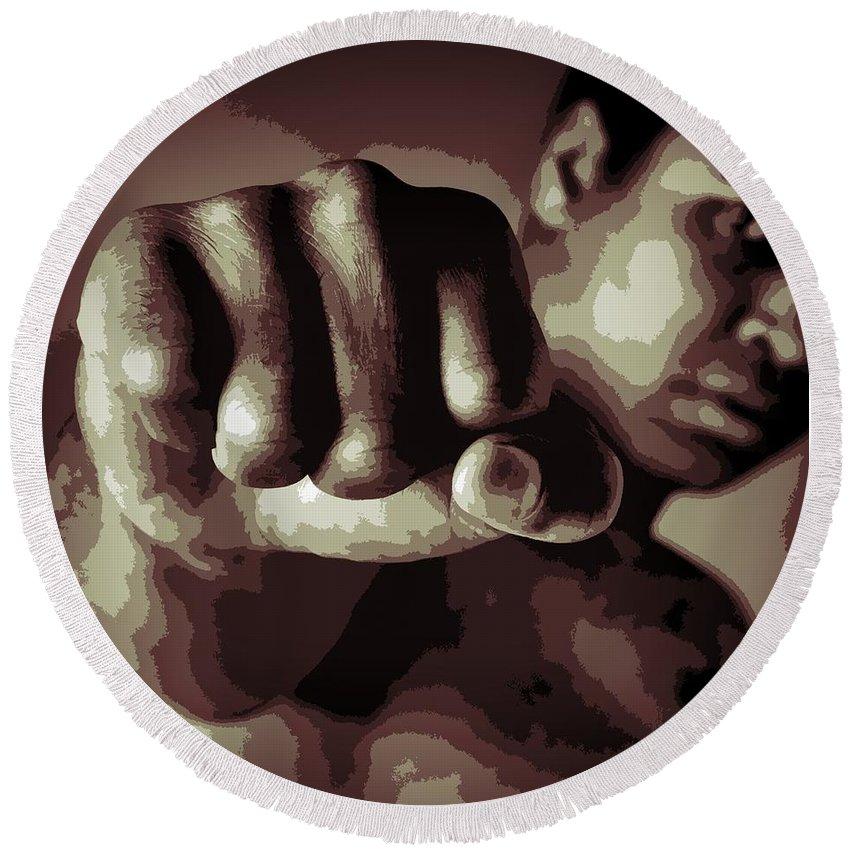 Muhammad Ali Fist Poster Round Beach Towel featuring the digital art Muhammad Ali Fist Poster by Dan Sproul