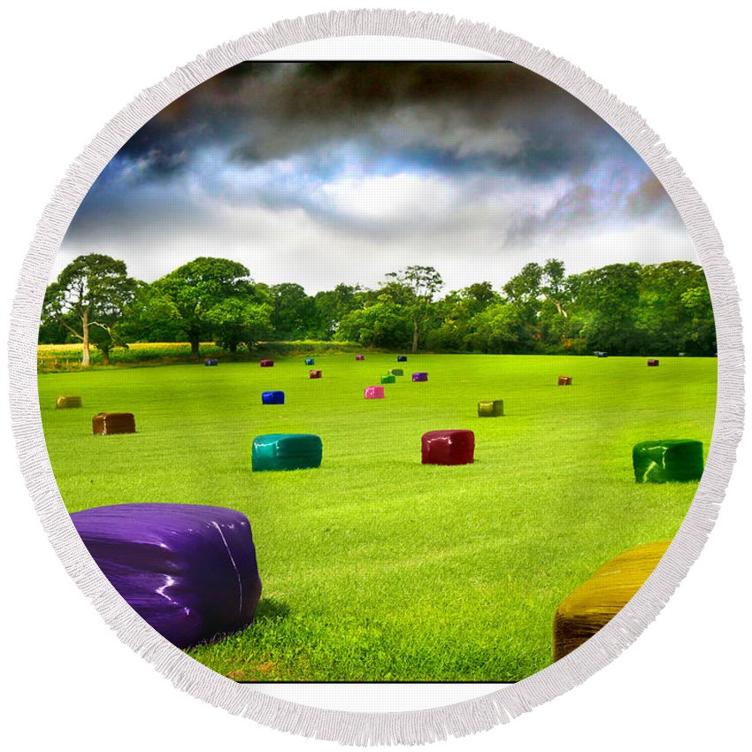 Bales Round Beach Towel featuring the photograph Multicolored Bales Fantasy by Mal Bray