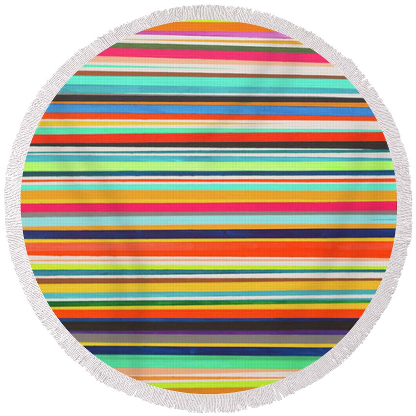 Abstract Round Beach Towel featuring the painting Multiple Exposure 2 by Ulrich Caster Adimou