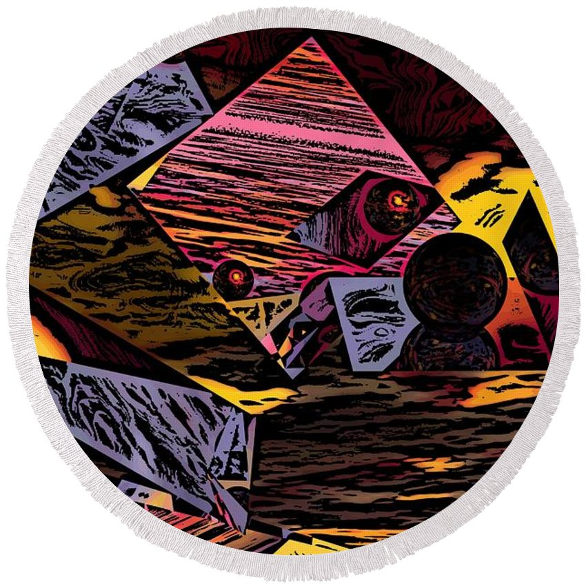 Round Beach Towel featuring the digital art Multiverse II by David Lane