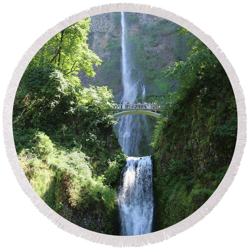 Multnomah Falls Round Beach Towel featuring the photograph Multnomah Falls by Carol Groenen