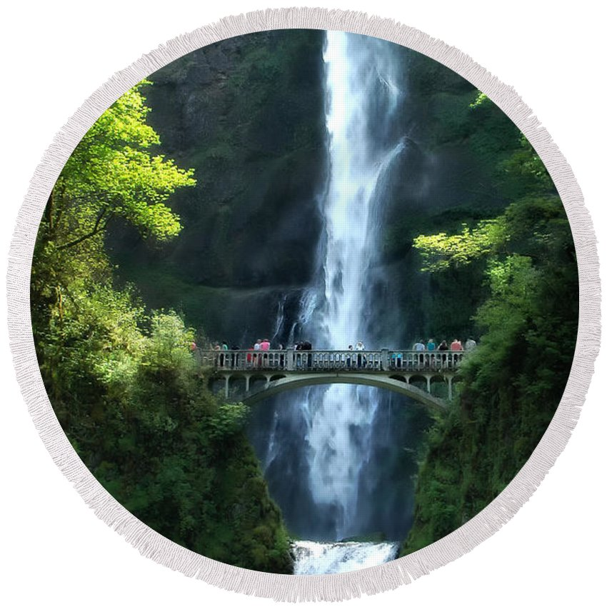 Falls Round Beach Towel featuring the photograph Multnomah Falls by Mike Nellums
