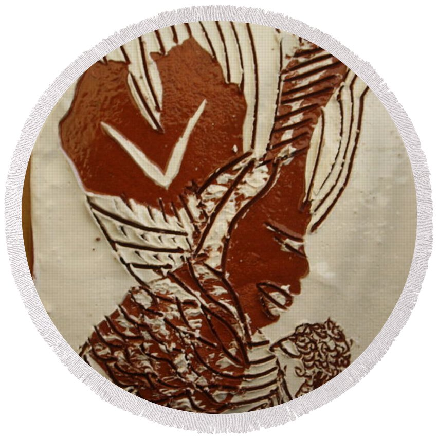 Jesus Round Beach Towel featuring the ceramic art Mums Looking - Tile by Gloria Ssali
