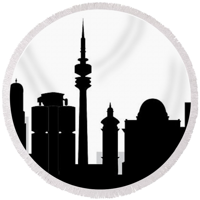Architecture Round Beach Towel featuring the photograph Munchen Skyline by Compuinfoto