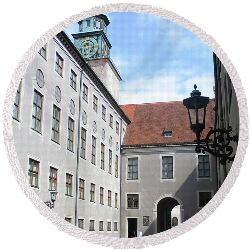Munich Round Beach Towel featuring the photograph Munich Detail 8 by Randall Weidner