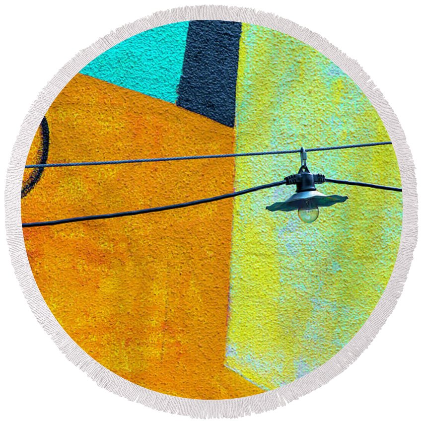 #chicago #architecture #downtown #abstract #design #art #photography #design #abstractarchitecturalphotography Round Beach Towel featuring the photograph Mural Niedersachsen Club V3 Dsc_3560 by Raymond Kunst