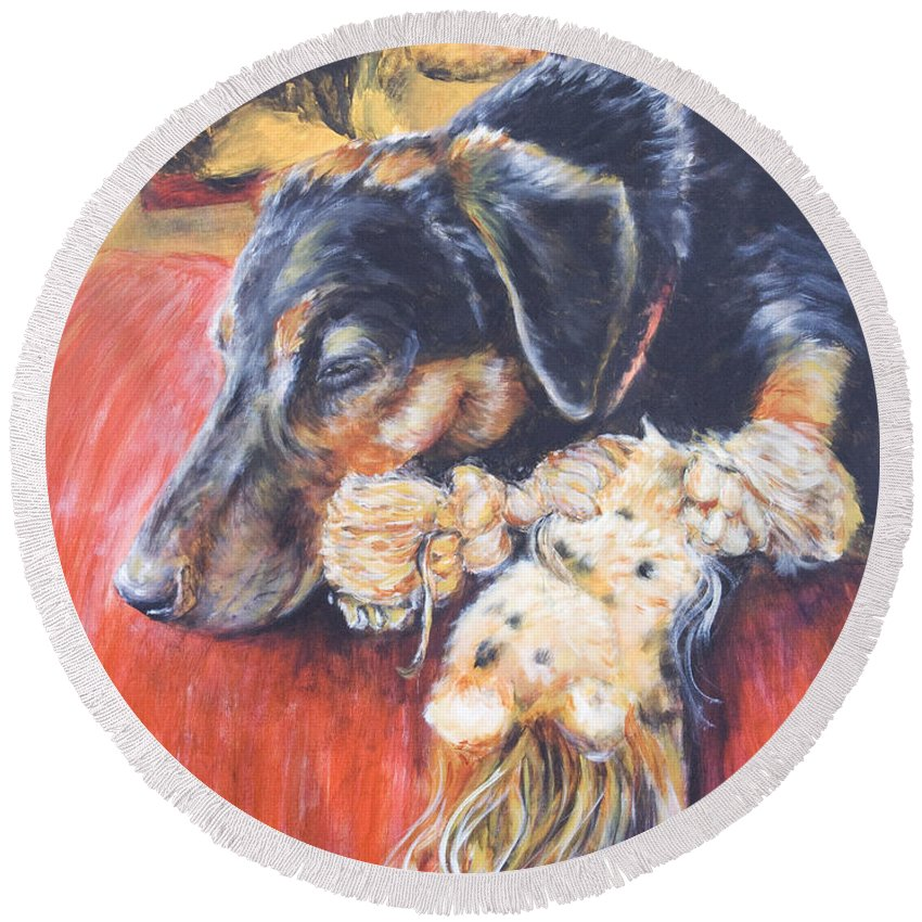 Dog Round Beach Towel featuring the painting Murphy VIII by Nik Helbig