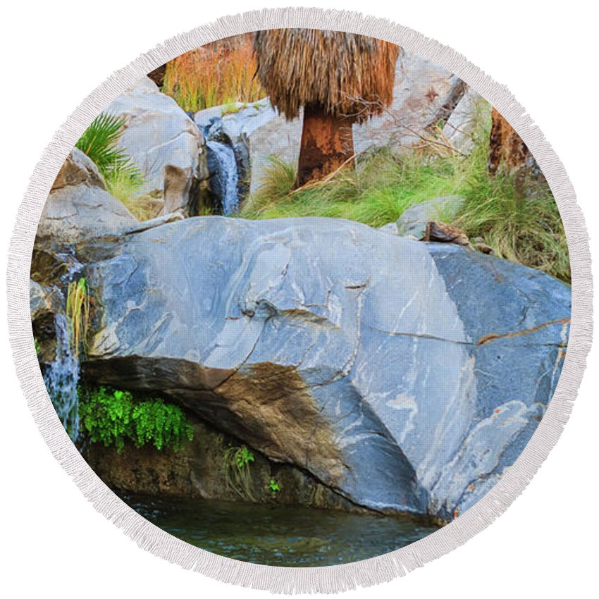 Waterfall Round Beach Towel featuring the photograph Murray Canyon Falls by Scott Campbell