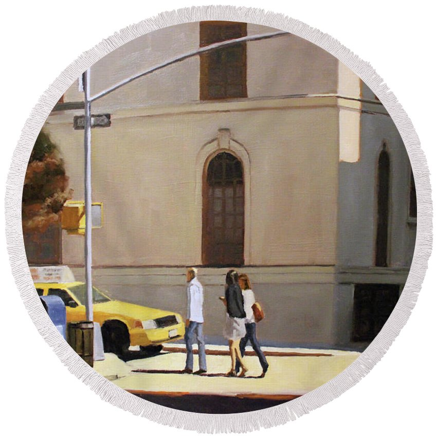Cityscape Round Beach Towel featuring the painting Murray Hill by Tate Hamilton