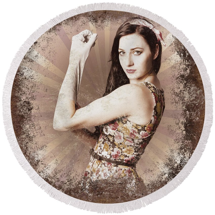 Poster Round Beach Towel featuring the photograph Muscle And Strength Pinup Poster Girl by Jorgo Photography - Wall Art Gallery