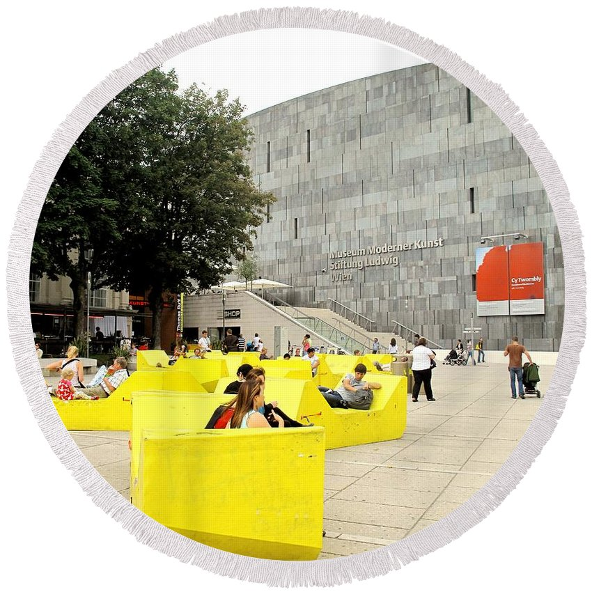 Museum Round Beach Towel featuring the photograph Museum Modener Kunst by Ian MacDonald