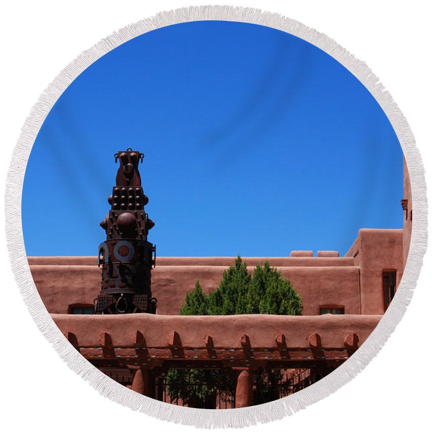 Museum Round Beach Towel featuring the photograph Museum Of Indian Arts And Culture Santa Fe by Susanne Van Hulst