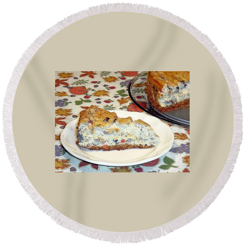 Cheesecake Round Beach Towel featuring the photograph Mushroom And Crab Savory Cheesecake by Robert Meyers-Lussier