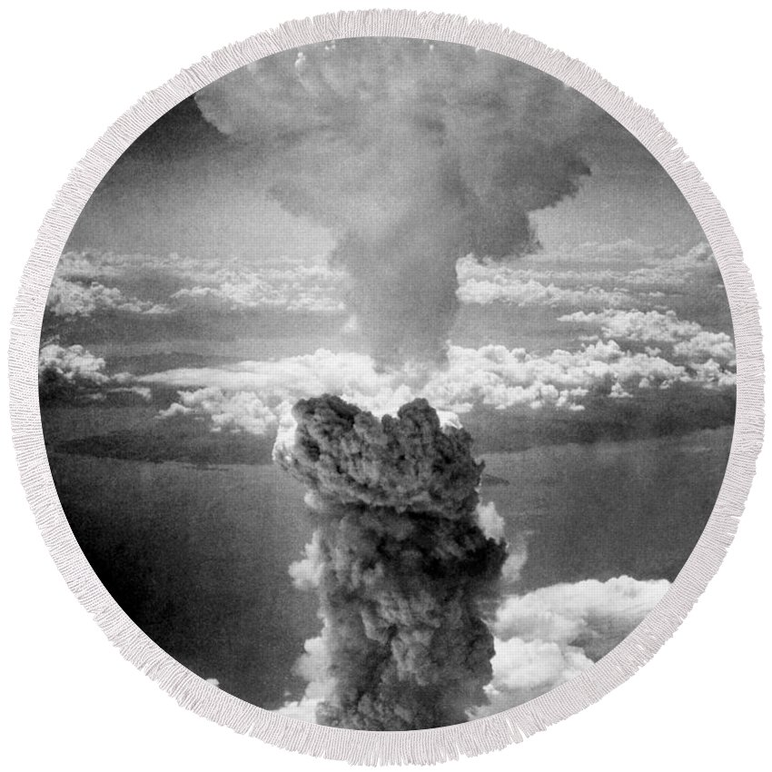 Atomic Bomb Round Beach Towel featuring the photograph Mushroom Cloud Over Nagasaki by War Is Hell Store