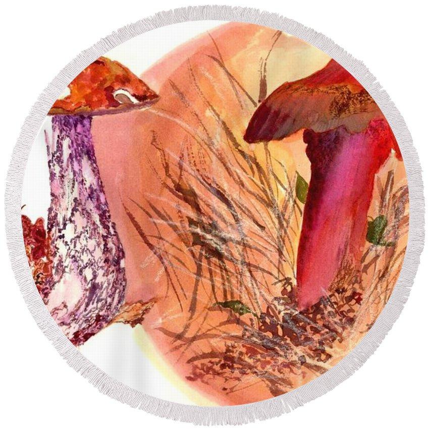 Mushrooms Round Beach Towel featuring the painting Mushroom Family by Debbie Lewis
