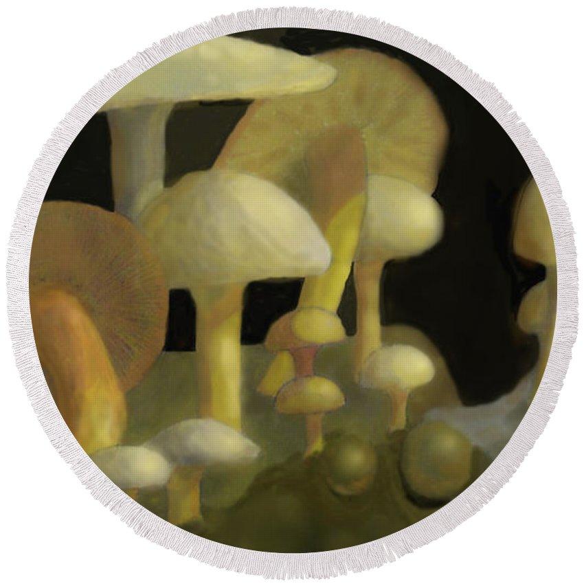 Mushrooms Round Beach Towel featuring the digital art Mushrooms by Ian MacDonald