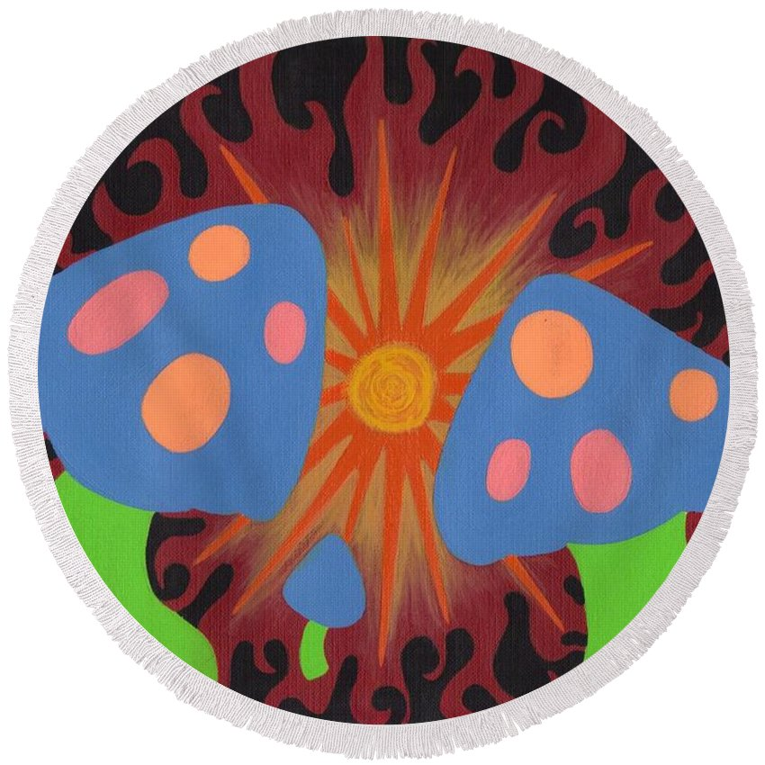 Mushrooms Round Beach Towel featuring the painting Mushrooms And Fire by Jill Christensen