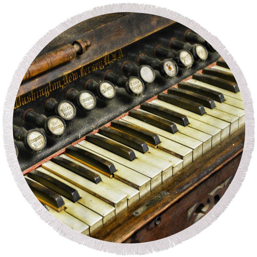 Music - Pump Organ - Antique Round Beach Towel featuring the photograph Music - Pump Organ - Antique by Paul Ward