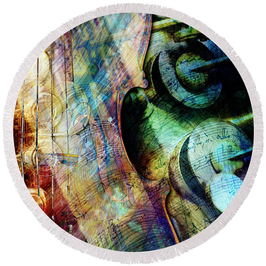 Strings Round Beach Towel featuring the digital art Music II by Barbara Berney