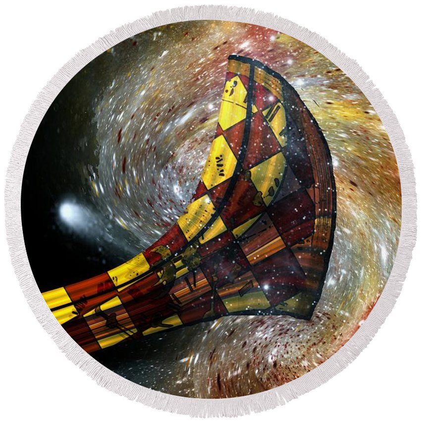 Horn Round Beach Towel featuring the painting Music Of The Cosmos by RC DeWinter