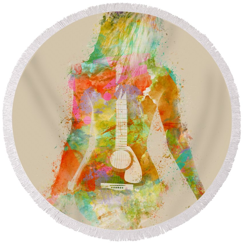 Guitar Round Beach Towel featuring the digital art Music Was My First Love by Nikki Marie Smith