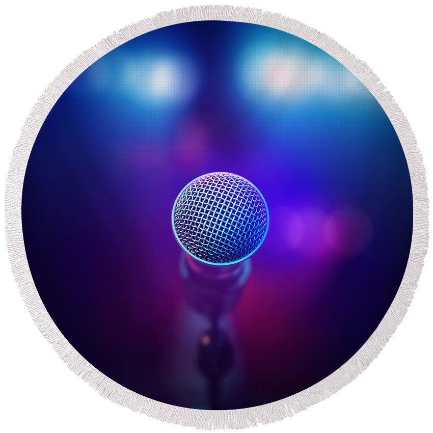 Microphone Round Beach Towel featuring the photograph Musical Microphone On Stage by Johan Swanepoel