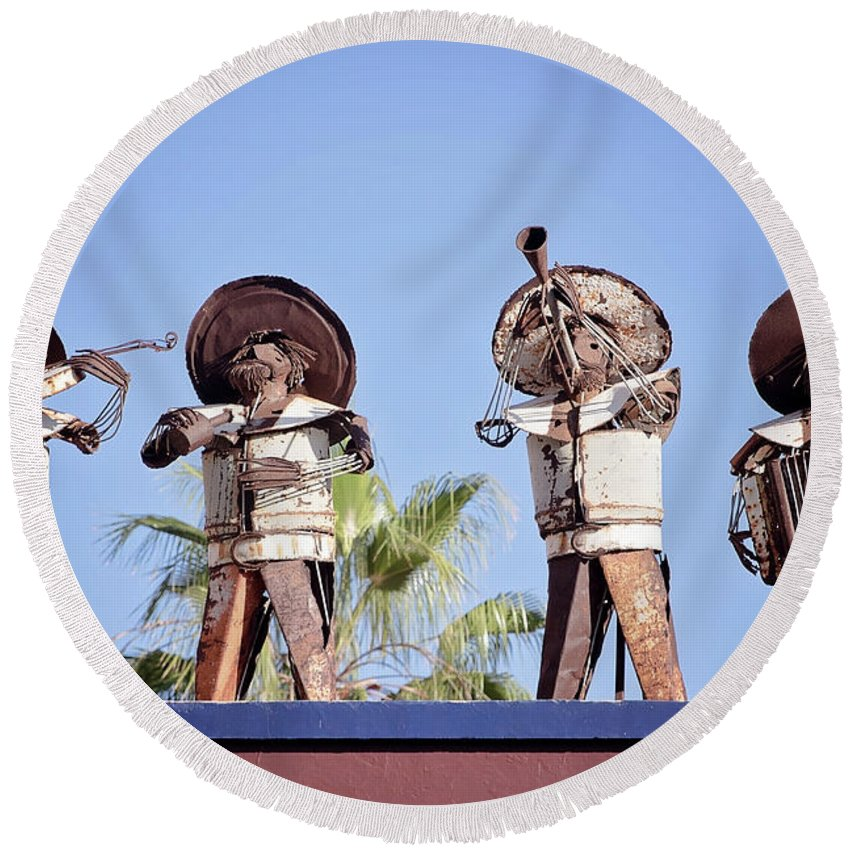 Mexico Round Beach Towel featuring the photograph Musicians At The Hotel California Todos Santos Mx by Deana Glenz