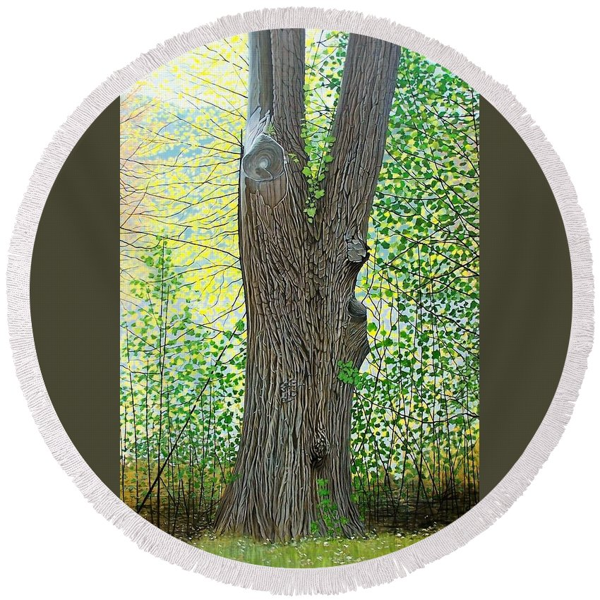 Landscape Round Beach Towel featuring the painting Muskoka Maple by Kenneth M Kirsch