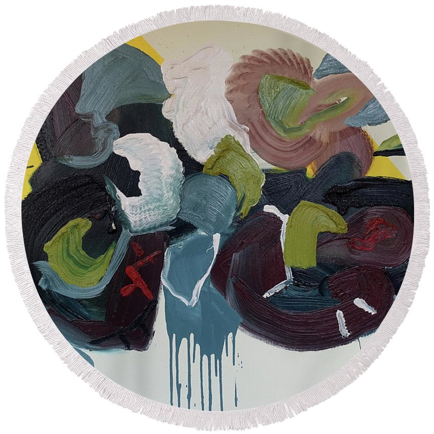 Abstract Round Beach Towel featuring the painting Mute Speed by Peregrine Roskilly