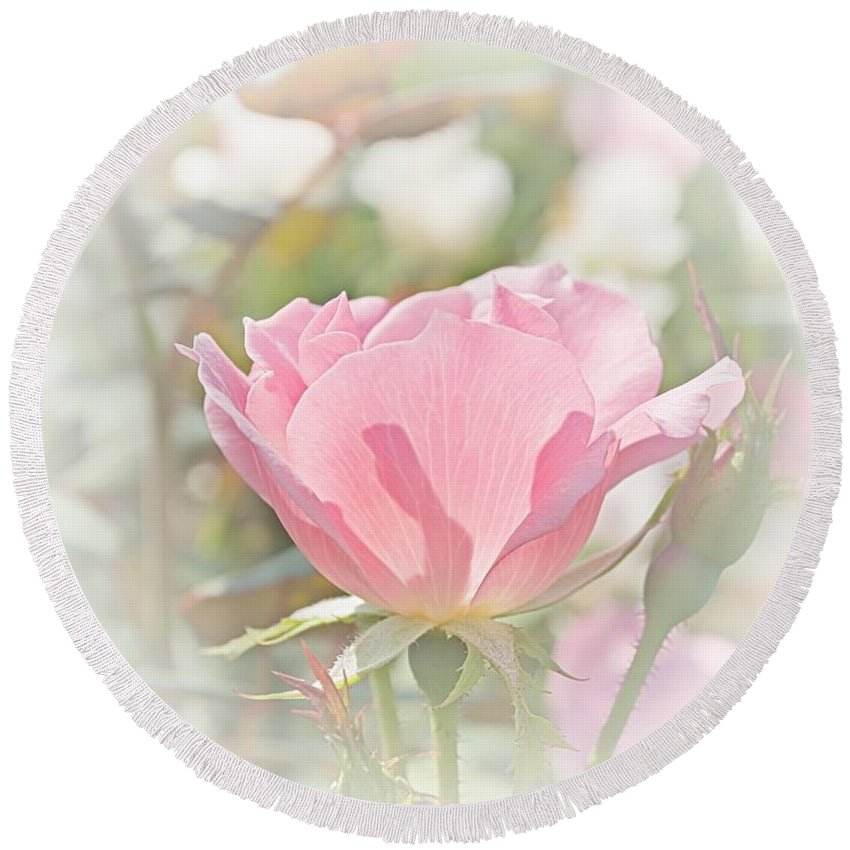 Quincy Illinois Round Beach Towel featuring the digital art Muted Rose by Luther Fine Art