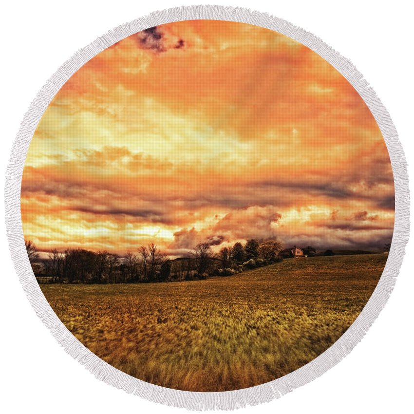 Christian Round Beach Towel featuring the photograph Muted Sunshine by Joshua Zaring