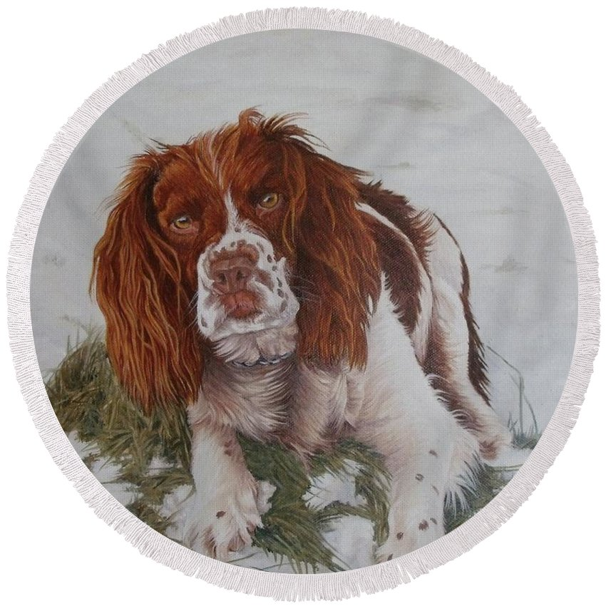 Dog Round Beach Towel featuring the painting Muttley-The best springer spaniel by Pauline Sharp