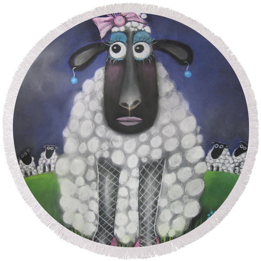 Caroline Peacock Round Beach Towel featuring the pastel Mutton Dressed As Lamb by Caroline Peacock
