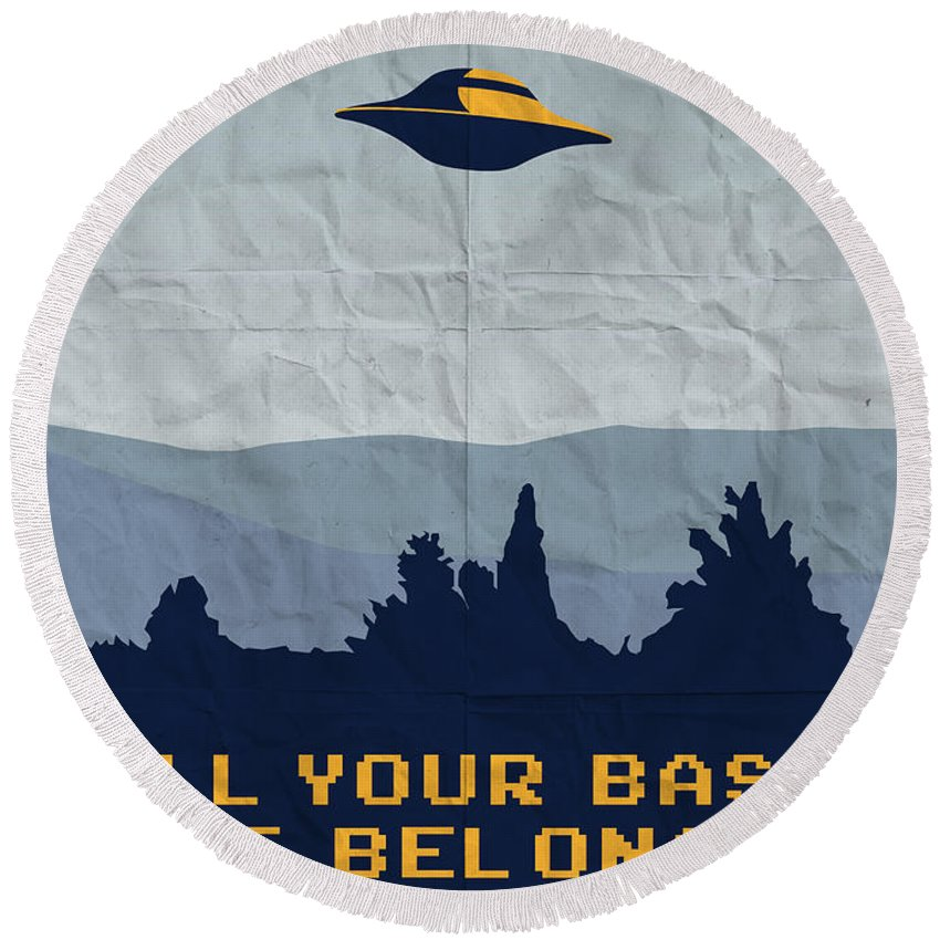 Classic Round Beach Towel featuring the digital art My All Your Base Are Belong To Us Meets X-files I Want To Believe Poster by Chungkong Art