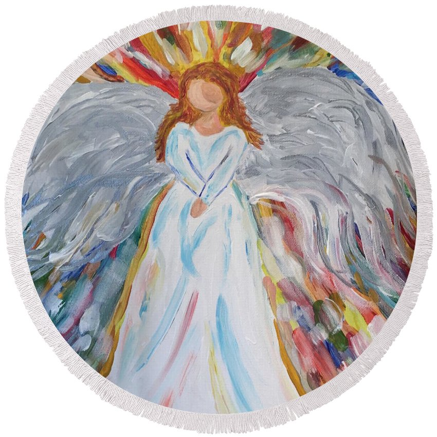 Angel Round Beach Towel featuring the painting My Angel by Kim Mlyniec