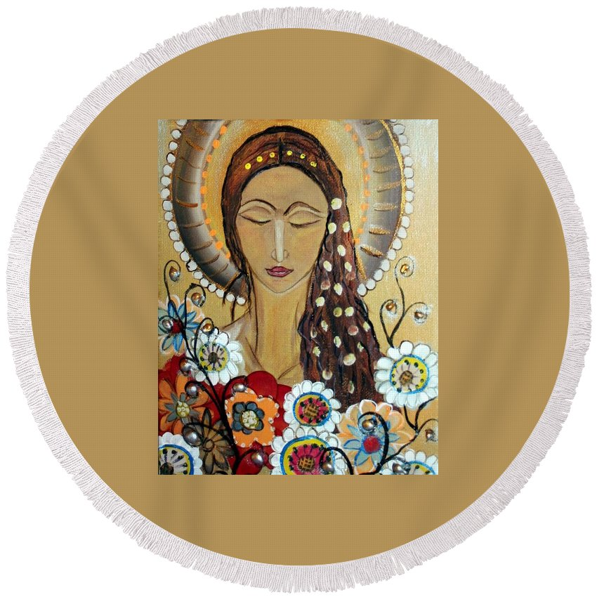 Art Round Beach Towel featuring the painting My Angel Modern Icon by Luiza Vizoli