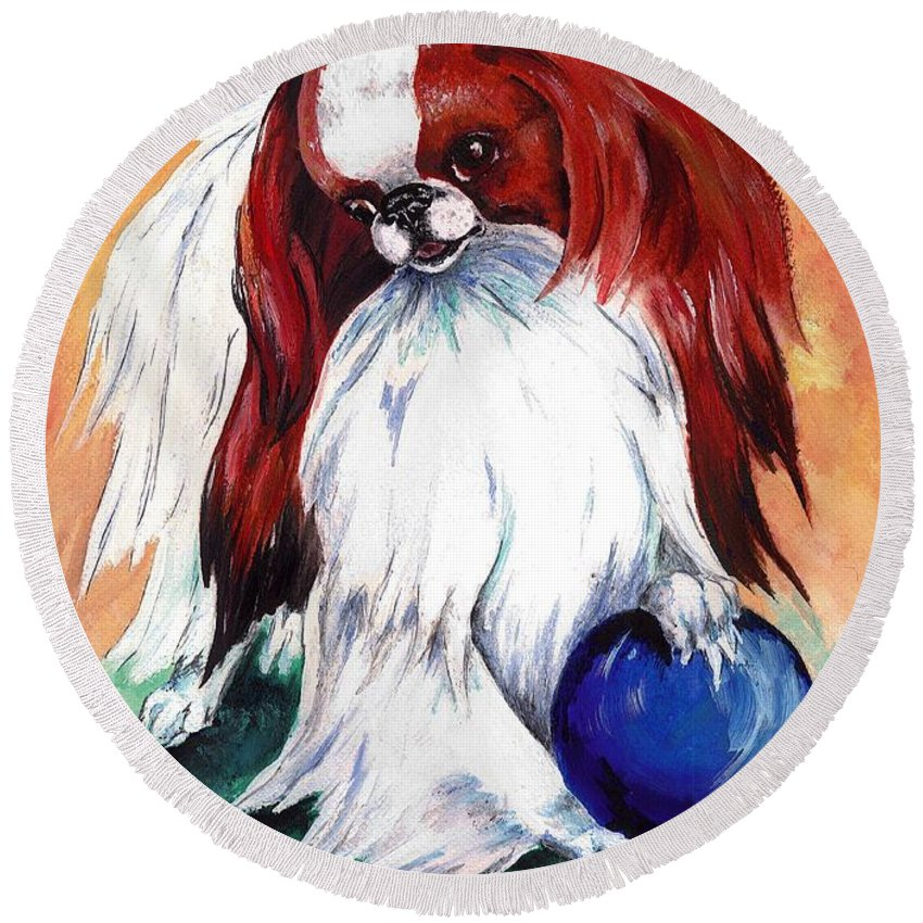 Japanese Chin Round Beach Towel featuring the painting My Ball by Kathleen Sepulveda