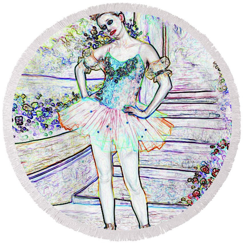 Ballet Round Beach Towel featuring the photograph My Ballerina by Southern Arts