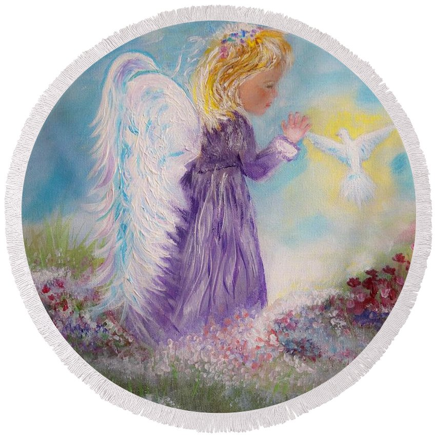 Angel Round Beach Towel featuring the painting My Best Friend by Leslie Allen