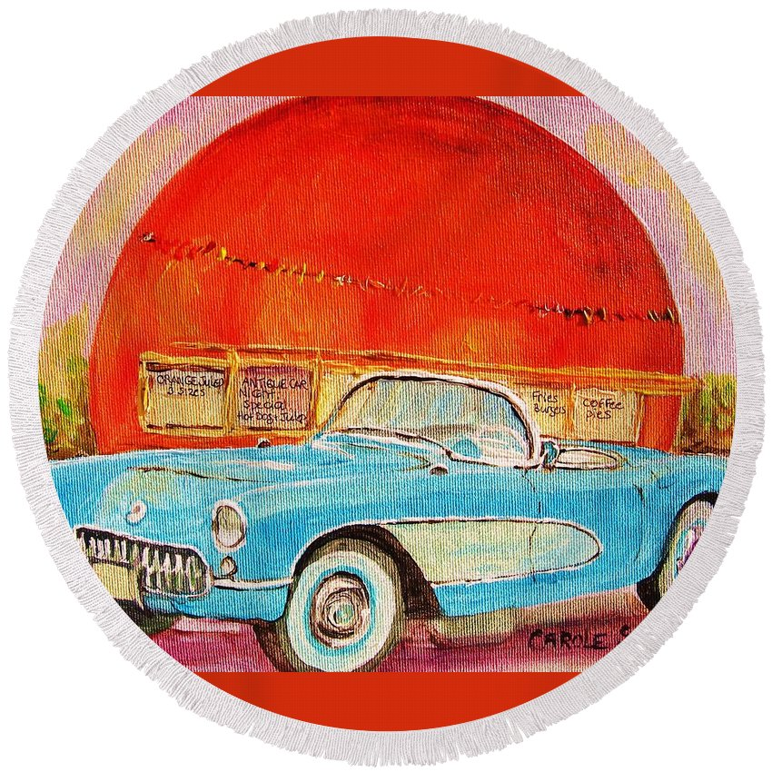 Montreal Round Beach Towel featuring the painting My Blue Corvette at the Orange Julep by Carole Spandau