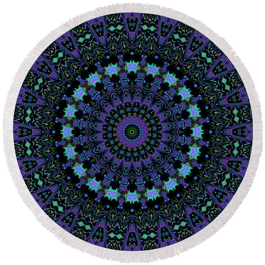 Digital Round Beach Towel featuring the digital art My Blue Garden by Joy McKenzie