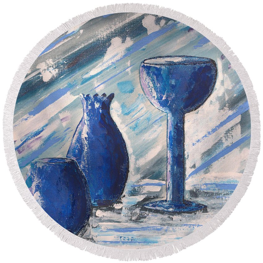 Vases Round Beach Towel featuring the painting My Blue Vases by J R Seymour