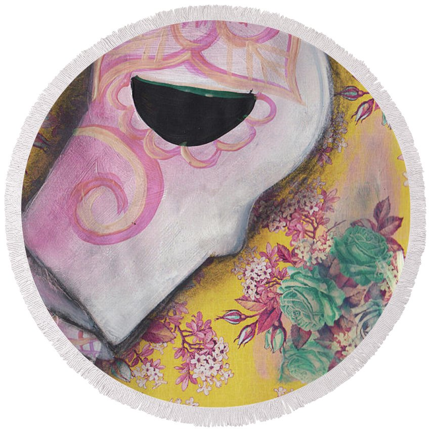 Dia De Los Muertos Round Beach Towel featuring the painting My Bouquet by Abril Andrade Griffith