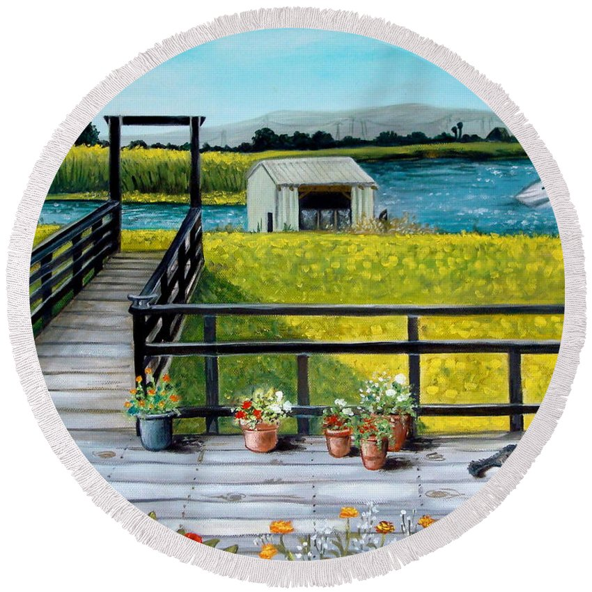 Landscape Round Beach Towel featuring the painting My Canvas by Elizabeth Robinette Tyndall